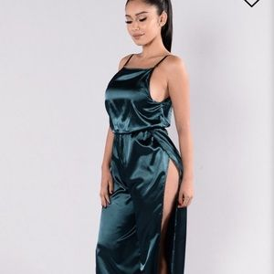 Satin emerald high slit jumpsuit